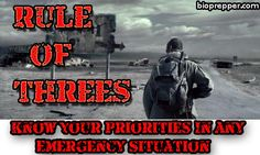 RULE OF THREES: KNOW YOUR PRIORITIES IN ANY EMERGENCY SITUATION SURVIVAL  --Posted AUGUST 30, 2015BY JAMES COLE