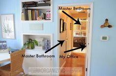 Master Hallway :: OrganizingMadeFun.com. I love the recessed shelf holding desk supplies.