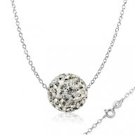 Unique Sterling Silver Chain and Swarovski Cubic Zirconia Crytals Round Ball #Necklace