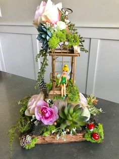 Tinkerbell Centerpiece , Enchanted Forest, Tinkerbell,wedding, party,baby shower, lighted, home decor, Fairy garden, peterpan by Rusticredoo on Etsy https://www.etsy.com/listing/585235112/tinkerbell-centerpiece-enchanted-forest