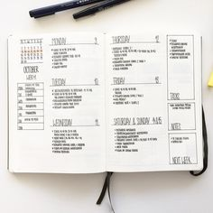 Bullet journal weekly layout, monochromatic layout, meal planner. @flyingpaperwords