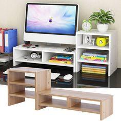 Details about Computer Monitor Riser Desk Table LED TV Stand Shelf Desktop Laptop Save Space,