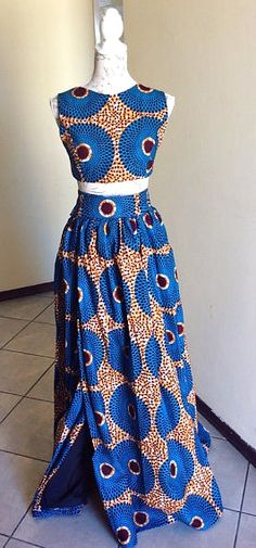 African print crop top and wrap skirt. African Dresses For Women, African Print Dresses, African Attire, African Wear, African Women, African Style, African Inspired Fashion, African Print Fashion, Fashion Prints