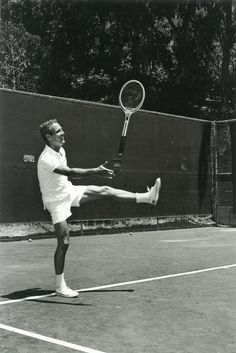 ~*Paul Newman in Westport, CT playing tennis, 1960