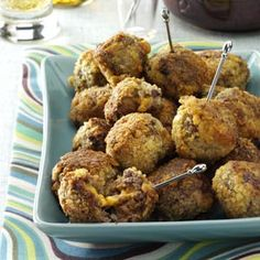 Bacon Cheeseburger Balls Recipe from Taste of Home -- submitted by Cathy Lendvoy of Boharm, Saskatchewan