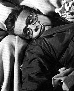 James Dean on the set of Rebel Without a Cause.