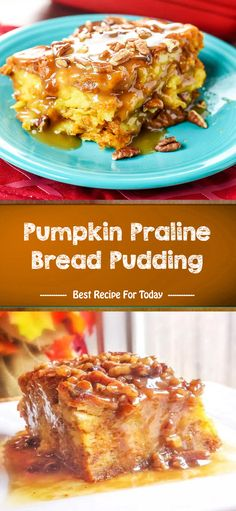 Ingredients Pumpkin Bread Pudding 1 pound loaf day old Bread (French, Italian, or Challah), torn into small pieces 1 cup Heavy . Pumpkin Recipes, Fall Recipes, Sweet Recipes, Holiday Recipes, Just Desserts, Delicious Desserts, Yummy Food, Breakfast Recipes, Dessert Recipes