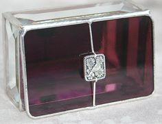 Deep Plum Stained Glass Box w/ Paloma Bird Link by GaleazGlass