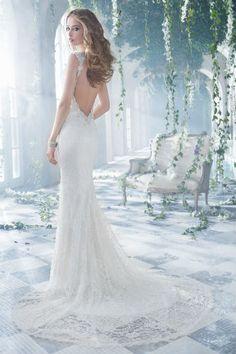Alvina Valenta - 9400 - silk - chantilly lace - beaded detail - organza flowers - swarovski crystals - low back