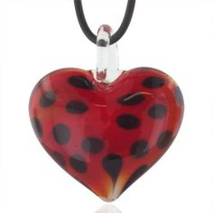 Pugster Necklace Murano Glass Dark Red Spotted Heart Pendant Necklaces Pugster. $23.99. Murano glass pendant. Perfect for Women, girls. Gorgeous for gifts. Excellent for all ages and any occasion. Made in China. Save 54%!