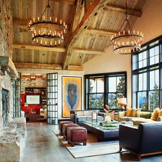 Montana ranch home exuding rustic-modern style RH Camino chandelier Montana Ranch, Montana Homes, Rustic Contemporary, Modern Rustic, Contemporary Homes, Rustic Elegance, Modern Homes, Rustic Industrial, Rustic Style