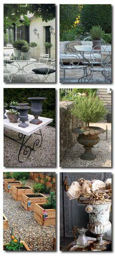 Outdoor Provence,French Decorating, French Outdoor gardens - All About Garden French Courtyard, French Patio, French Table, Provence, French Decor, French Country Decorating, Painted Outdoor Furniture, Distressed Furniture, Country Patio