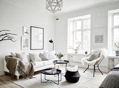 38 Scandinavian Living Room Design for Best Home Decoration Living Room Designs, Living Room Decor, Living Rooms, Scandi Living Room, Living Room White, Monochrome Interior, Scandinavian Living, Nordic Living, Scandinavian Interior