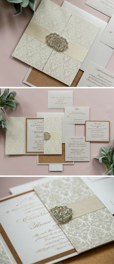 Square gatefold wedding invitation created with handmade damask-patterned paper, a double scroll clasp and rose gold glitter ink.