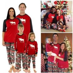 6954887701 Xmas Family Best Matching Pajamas Set Deer Adult Kids Women Sleepwear  Nightwear