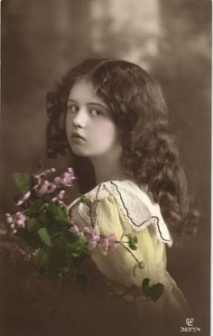 Edwardian BEAUTY serious girl long hair tinted photo postcard 1912 in Collectibles | eBay