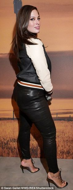 The look: Ashley teamed the subtly sexy look with a pair of skintight leather pants and added extra height to her five-foot-nine stature with strappy peep-toe stilettos