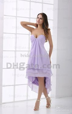 Wholesale Lavender Short Front Long Back Bridesmaid Dress Sheath Sexy Strapless with Beaded Pleats Party Dress, Free shipping, $71.68-85.12/Piece | DHgate