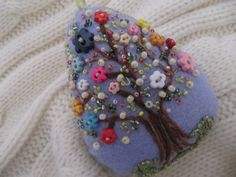 Easter Decoration - Felt Beaded Egg Ornament in Lavender - Spring Tree Ornament - Bead and Button Decoration. $22,00, via Etsy.