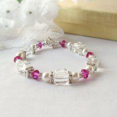 Elegant white Swarovski Pearl Bracelet with Fucshia and Clear Crystal Cubes and Rhinestone Sqaredelles
