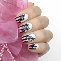 White Pink and Black Flower Nail Designs