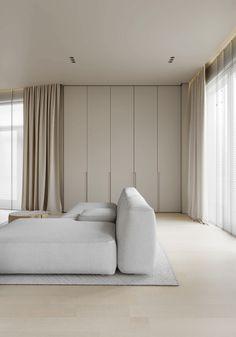 AP I white sand on Behance Minimalism Interior, Apartment Interior, Room Design, Interior Design, House Interior, Home, Bedroom Design, White Interior, Interior Design Lounge