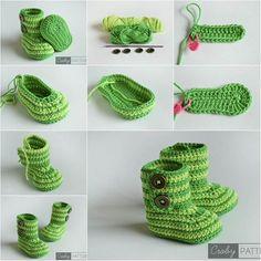 Creative Ideas - DIY Cute Crochet Baby Booties with Free Pattern | iCreativeIdeas.com Follow Us on Facebook --> https://www.facebook.com/iCreativeIdeas