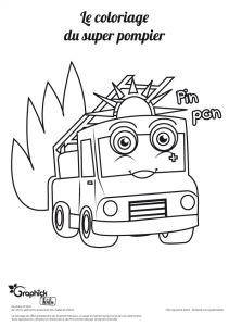 un coloriage de camion de pompier sur le site GraphiCK-Kids