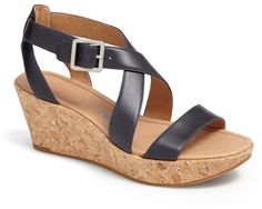 Navy Leather Wedge Sandals by Tsubo. Buy for $139 from Nordstrom