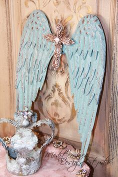 Metal angel wings with silver cross!