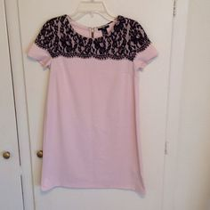 H&M summer dress!! Light pink with lace black detailing easy to wear summer dress. Zipper opens on the back H&M Dresses Mini