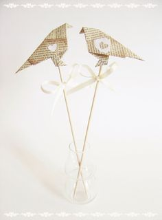 Wedding cake toppers  Origami Love Birds Cake by paperinthepocket, €10.90