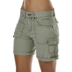 Rip Curl Fame Womens Walkshort Green ($43) ❤ liked on Polyvore featuring shorts, cargo shorts, green, women, rip curl, relaxed fit cargo shorts, cotton cargo shorts and walking shorts