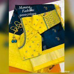 Discover thousands of images about Unstitched embroidery blouse material (customised colour and fabric) whatsapp 9133502232 Pattu Saree Blouse Designs, Blouse Designs Silk, Designer Blouse Patterns, Bridal Blouse Designs, Sari Blouse, Salwar Designs, Hand Work Blouse Design, Simple Blouse Designs, Simple Designs