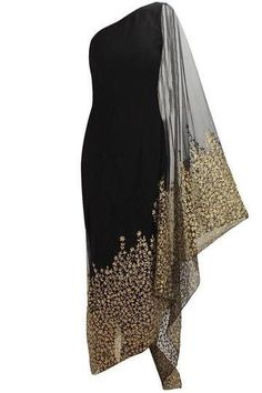 Nikhil Thampi presents Black floral embroidered kaftan saree with black net churidaar available only at Pernia's Pop Up Shop. African Fashion, Indian Fashion, Womens Fashion, Luxury Fashion, Indian Dresses, Indian Outfits, Indian Designer Wear, Indian Wear, Beautiful Dresses