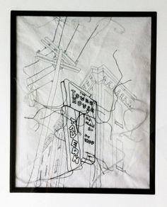 Towneshouse Sign by Rae Miranda. #textileart #fibreart #threadart #threaddrawing #townehousesudbury #sudbury
