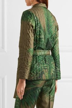 F.R.S For Restless Sleepers - Aura Belted Quilted Silk-twill Jacket - Green - x small