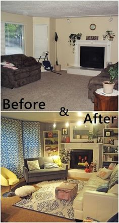 smartgirlstyle: Living Room Makeover don't like curtains! Curtains all wrong, but like furniture placement and fireplace. Makes to cluttered looking.