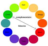 Beeldaspect kleur / kleurcontrast. Complementaire kleuren of kleur tegen kleur contrast.