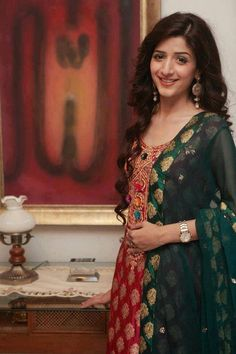 Red and green kameez