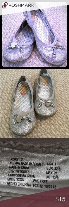 🌸 Silver Sparkly Shoes 🌸 Heart Tasssle Adorable Silver Dress Shoes - Super Cute for every little girl! Some wear inside show but still look good! Michael Kors Shoes