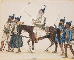 A Band of Akali-Nihang Warriors on the March Punjab Company School c1860 Toor Collection