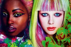 Dreaming in Color – Edie Campbell and Nyasha Matonhodze are colorful visions in kaleidoscopic spring beauty looks for Allure's March issue. Photographed by Mario Testino with styling by Paul Cavaco, the eye-catching duo sport neon colored hair by Oribe and eclectic shades of eye shadow by makeup artist Tom Pecheux.