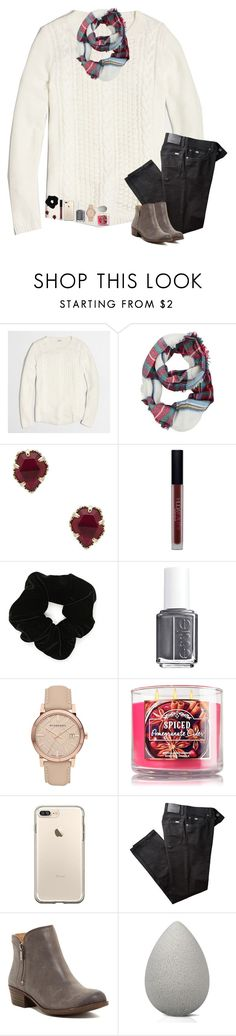 """""""is it too early to start captioning my sets w Christmas music lyrics?"""" by hailstails ❤ liked on Polyvore featuring J.Crew, Kendra Scott, Huda Beauty, Forever 21, Essie, Burberry, BRAX, Lucky Brand and beautyblender"""