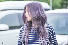 Irene from Red Velvet darker ashy silver purple hair