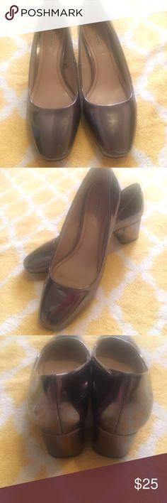 Zara metallic heels Beautiful metallic silver  heels from Zara . In good condition. Zara Shoes Heels
