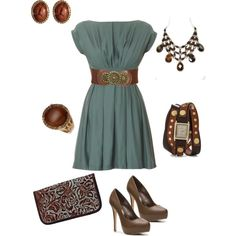 """""""brown and teal"""" by kaybraden on Polyvore"""