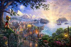 Thomas Kinkade's Disney Paintings - Pinocchio - walt-disney-characters Photo