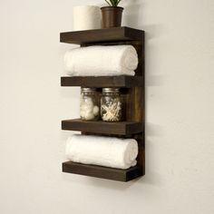 Bathroom Towel Rack 4 Tier Bath Storage Floating Shelf Hotel Style Dark Walnut by RusticModernDecor on Etsy https://www.etsy.com/listing/195455037/bathroom-towel-rack-4-tier-bath-storage