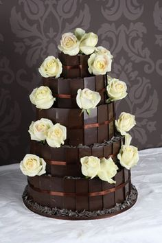 Perfect colour scheme - roses wouldn't be spread out though and the chocolate would be kit kats